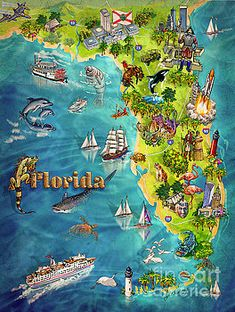 Illustrated Map of Florida Art Print by Maria Rabinky. All prints are professionally printed, packaged, and shipped within 3 - 4 business days. Old Florida, Vintage Florida, Florida Maps, Florida Style, Tampa Florida, Vintage Maps, Vintage Travel Posters, Watercolor Florida, Cape Cod Map
