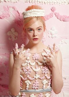 Artist, Will cotton, hand piped this dress on Elle Fanning with icing to create sugar appliques which mimic a dress from the Erdem SS 2013 collection. Photo, New York Magazine's Spring Fashion Issue. Dakota Et Elle Fanning, Ellie Fanning, Fashion Shoot, Editorial Fashion, Fashion Gallery, Dress Fashion, Fashion Models, Elle Moda, Will Cotton