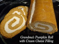 This Pumpkin Roll with Cream Cheese Filling is easy to make and will fool your guests into thinking it took hours to make! I would double the cream cheese portion next time though. But super yummy! Pumpkin Recipes, Fall Recipes, Sweet Recipes, Holiday Recipes, Holiday Desserts, Holiday Baking, Holiday Foods, Christmas Holiday, Delicious Desserts