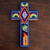 'A Prayer Offered' beadwork cross designed by Mexico's Santos.