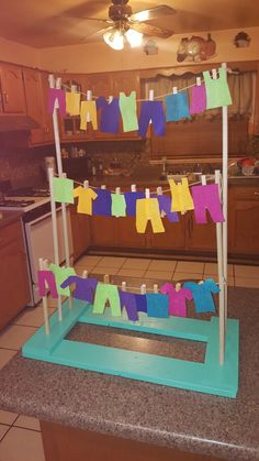 My version of Occupational Therapy clothes line for last fieldwork rotation. Pima Medical Institute OTA program. BUE strength, functional reach, reaching over shoulder, activity tolerance, endurance, motor coordination, fm skills, sitting/standing balance, etc. the list goes on! geriatric population.