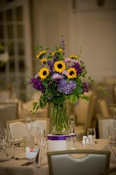 mason jar centerpieces with sunflowers and hydrangea