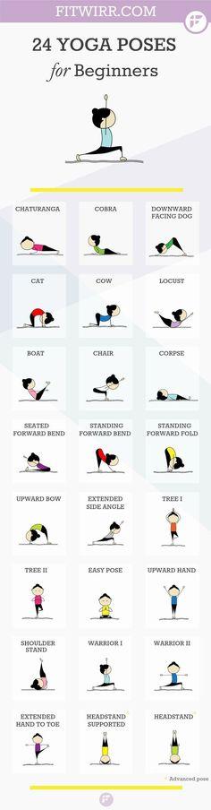 Asanas Yoga: 24 Yoga Poses for Beginners 24 Yoga poses for beginners. Namaste :-). #yoga #meditation #health