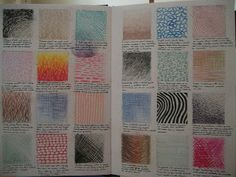 To practise different markmaking techniques i drew lots of squares on some paper and used different mediums in each square, and a. Textiles Sketchbook, Gcse Art Sketchbook, Sketchbook Ideas, Elements And Principles, Elements Of Art, Mixed Media Photography, Creative Photography, Secondary School Art, A Level Textiles
