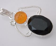 Alluring Baltic Amber-Onyx 925 Silver Plated Pendant Christmas Gift For Her M82 #valueforbucks #Pendant