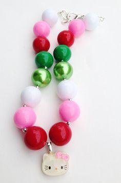 Hello KittyChristmas Chunky necklace, Hello Kitty girls necklace, Christmas gumball necklace, gumball necklace, Hello Kitty gumball necklace on Etsy, $14.00