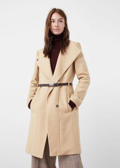 Belt wool coat -  Women | MANGO USA