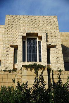 Charles Ennis House. 1924. Los Feliz neighborhood of Los Angeles, California. Texitle Block Period. Frank Lloyd Wright.