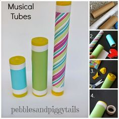 DIY Musical Instrument Set for kids recycling plastic wrap tubes.