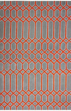 nuLOOM Hand Tufted Wool Orange Wendy Rug | Contemporary,Trellis Rugs