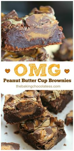 OMG Peanut Butter Cup Brownies - All American Dream Brownies! Peanut butter cups and thick, fudgy chocolate brownies are definitely worthy! Peanut Butter Cups, Peanut Butter Cup Brownies, Peanut Butter Desserts, Chocolate Desserts, Easy Desserts, Delicious Desserts, Chocolate Brownies, Mint Chocolate, Chocolate Chips
