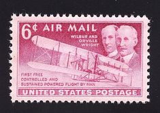 Vintage Unused US Postage Stamp 6c WRIGHT BROTHERS 1st Flight Airmail Stamp .. Pack of 10 stamps sold on Etsy by TreasureFox, $3.00
