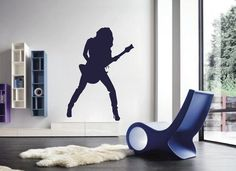 ik2600 Wall Decal Sticker sexy girl with rock guitar heavy lounge music store