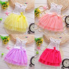 >> Click to Buy << Hot Kids Dress Baby Girls Summer Sleeveless Lace Party Dresses Kawaii Little Girl Tutu Dresses Robe Fille #Affiliate