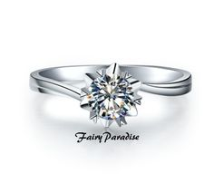 1 ct Art Deco Snowflakes Solitaire Engagement by FairyParadise