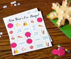 Download these one-of-a-kind Bingo boards, full of New Year's images like balloons, confetti, streamers, and noise-makers.
