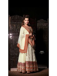 Off White & Red Colour Diya Mirza Designer Net Suit