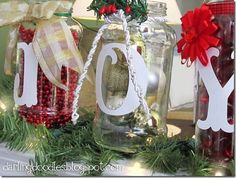 Mason jar decorations that are removable and reusable.  Holiday décor.