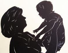 Mommy & Baby, cut paper silhouette
