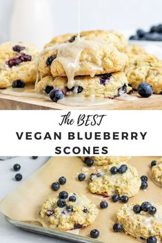 A delicious & easy Vegan Blueberry Scone recipe topped with vanilla glaze and fresh blueberries that is perfect for breakfast. These scones are made with almond milk & coconut oil for a healthier twist on a traditional bakery-style blueberry scone. These moist & flaky scones are soft & fluffy on the inside with a crunch on the outside. The absolute best homemade egg-free & dairy-free vegan scones that are delicious with no butter added! #vegan #blueberry #scones #recipe #breakfast #sgtoeats Best Vegan Desserts, Vegan Dessert Recipes, Vegan Treats, My Recipes, Blueberry Scones Recipe, Vegan Scones, Vegan Blueberry, Almond Milk, Coconut Oil
