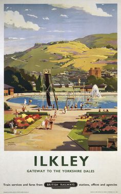 1957 British Railways LNER Poster of ILKLEY Gateway to the Yorkshire Dales by artist Frank Sherwin 1896 - 1986 This poster is printed using only Posters Uk, Train Posters, Railway Posters, Poster Prints, Art Prints, British Travel, National Railway Museum, Travel Ads, Train Travel