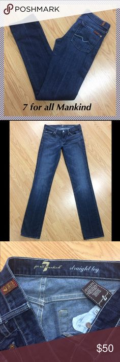 """7 for all Mankind straight leg jeans 27 x 33.75"""" 7 for all mankind straight leg jeans • 33.75"""" inseam, 7.5"""" rise, 14.5"""" across waist, 14"""" leg opening • 98% cotton, 2% spandex • Excellent condition!!! 7 For All Mankind Jeans Straight Leg"""