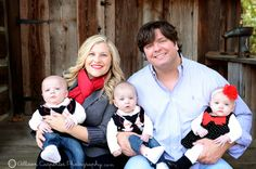 Six Month Old Triplets Family Posing Multiples Allison Carpenter Photography