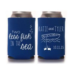 Beach Wedding Koozies - 2 Two Less Fish in the Sea Personalized Wedding Favors, Destination Wedding Can Cozies, Summer Wedding Cozies, Can Coolers #weddingkoozies #weddingfavors #beachwedding #nauticalwedding