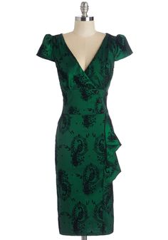 Fête Your Tail Feather Dress. With a celebratory twirl, youre off to the gala, feeling jubilant in this emerald-green dress! #green #modcloth