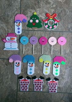 Handmade Plastic Canvas Christmas Tree Ornaments
