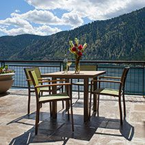 Sophistication at is finest, the POLYWOOD Bayline 5 Piece Dining Set is the new favorite amongst our customers. They just love the cushy feeling provided by this all weather sling material! The Bayline Collection is highlighted by sleek lines created b Formal Dining Tables, Outdoor Dining Set, Outdoor Decor, Dining Area, 3 Piece Bistro Set, 3 Piece Dining Set, Polywood Outdoor Furniture, Outdoor Furniture Sets, Patio Bar Set