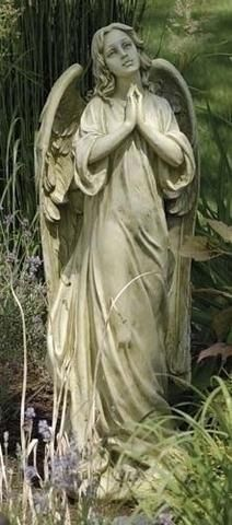 """Angel In Thought Garden Statue. Beautiful and graceful angel for home or garden. This gift is perfect for any angel lovers or as a memorial gift. Made of Resin and stone mix Measures at :9.25""""X7.25""""X1"""