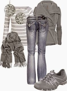Who Love Grey This Beautiful, Lovely Combination For Those. Grey And White Striped Shirt, Grey Coat, Grey Scarf, Grey Sport Shoes, Nice Jeans And Silver Colored Earrings.   Street Fashion