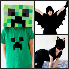 Three simple and easy Halloween costumes for kids which cost very little to make! A simple Halloween Bat, Halloween cat & an easy Minecraft Creeper costume! Halloween Outfits, Halloween Costumes To Make, Halloween Bats, Creeper Costume, Nerd, Creepers, Batman, Superhero, Crafts