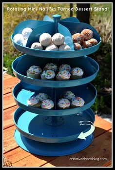 Tutorial on how to turn a rotating mini-nail bin from Harbor Freight into a multi-tier rotating dessert stand!