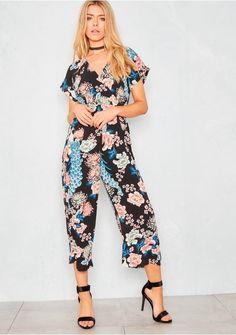 Dovie Black Floral Straight Leg Jumpsuit Missy Empire