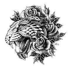 Ornate Leopard Black & White Variant Art Print