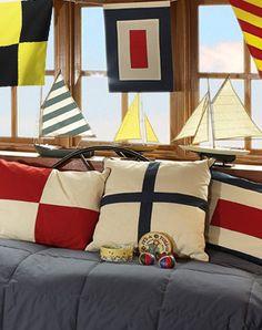 Nautical room theme - pillows, banner, sail boats