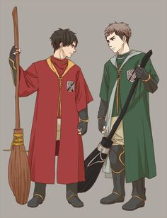 Attack on Titan + Harry Potter crossover <3 Eren is in Gryffindor and OF COURSE Jean is in Slytherin lol