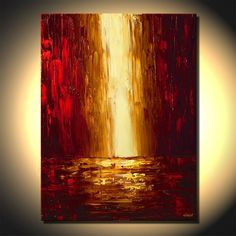 Original Abstract Painting Palette Knife Art on Canvas Red Golden Skyscrapers City Painting by Osnat Abstract Nature, Abstract Canvas, Canvas Art Prints, Canvas Wall Art, Painting Canvas, Painting Inspiration, Fine Art, Illustration, Palette Knife