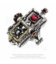 Van Helsing Kinetic Vampire-Mosquito Trap R189 The patented, mid-Victorian solution to the underestimated stealth threat of revenant dipper- undead mosquitos!  A tri-tone, steampunk pewter ring of a miniature rodent trap, with spring activated brass hammer and red cabochon.