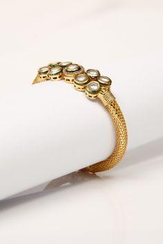 Flat Kundan work gold bangle from Vintage Desi