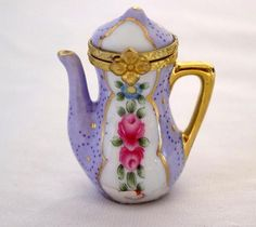 Mini Teapot Hinged Trinket Box  Purple and pink Colors Floral beautiful