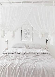 Tour the home of ceramicist Sophie Nolan in Sydney's Northern Beaches suburb of Bilgola. Stark white walls meet stark white floors, while black and grey accents bring depth and contrast to the space. Click through for the full home tour and interview. Decor, Home, White Floors, Bedroom Interior, Bedroom Inspirations, White Sheet Set, White Walls, Bedroom, Minimal Bedroom