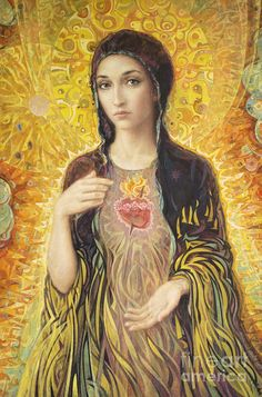 The Immaculate Heart of Mary - one of the prettiest images I've seen. This site has contemporary Catholic art by family art studio and is an apostolate inspired by Pope John Paul II! My favorite Immaculate Heart of Mary image. Blessed Mother Mary, Divine Mother, Blessed Virgin Mary, Virgin Mary Art, Religious Icons, Religious Art, Immaculée Conception, Marie Madeleine, Jesus E Maria