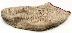 """""""Norse socks were not knitted, which apparently was unknown to the Norse. Instead, they were made using an ancient technique called nálbinding (needle-binding). Using a single large, thick needle, it was a method of knotting the yarn. Although time consum Norse Clothing, Historical Clothing, Viking Garb, Viking Life, Norse Vikings, Iron Age, Interesting History, Ancient Artifacts, Ancient History"""