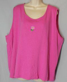 QUACKER FACTORY size 3X Pink Cotton Jersey Knit Stretch Tank w/ flower