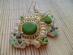 Handmade soutache earrings Cream green gold yellow by SoutacheShop,