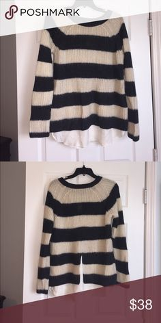 Sweater with silk underlay Never worn. Hand wash cold. Dry flat. 41% acrylic, 26% wool, 20% mohair, and 13% nylon. Ann Taylor Sweaters Crew & Scoop Necks
