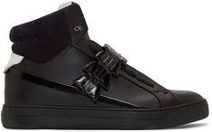 3908704725e23a Fendi Black Leather   Croc High-Top Sneakers Fendi Clothing